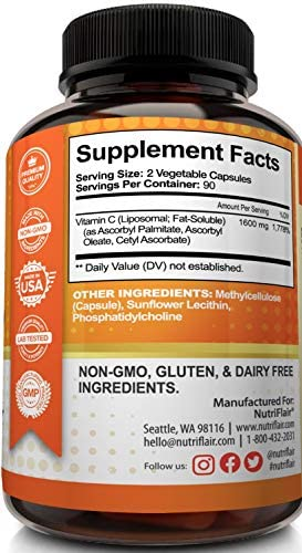 NutriFlair Liposomal Vitamin C 1600mg, 180 Capsules - High Absorption, Fat Soluble VIT C, Antioxidant Supplement, Higher Bioavailability Immune System Support & Collagen Booster, Non-GMO, Vegan Pills