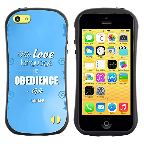 DREAMCASE Citation de Bible Silicone et Rigide Coque Protection Image Etui solide Housse T¨¦l¨¦phone Case Pour APPLE IPHONE 5C - MY LOVE LANGUAGE IS OBEDIENCE - JOHN 14:15