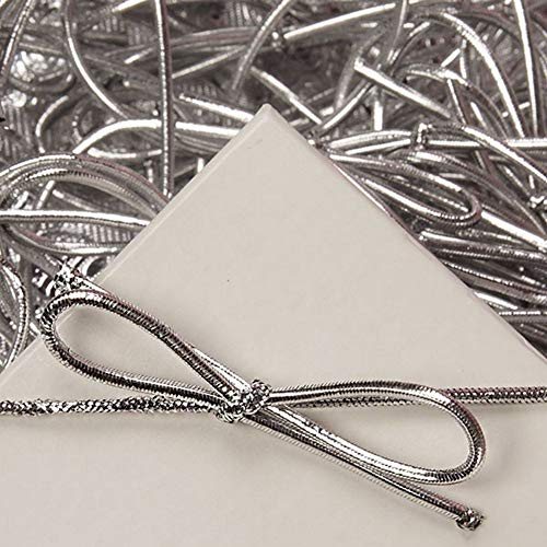 (8 Inch Silver Metallic Stretch Loops with Bows (200))