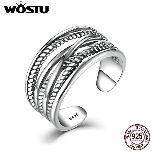 Real 925 Sterling Silver Intertwine Opened Rings | for Women Men | Vintage Style Fine Jewelry ()