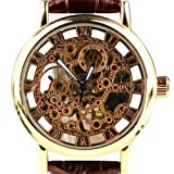 Orkina Mens Golden Case Hollow Skeleton Mechanical Dial Leather Strap Wrist Watch KC112GB, Watch Central