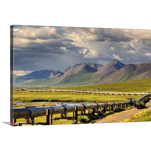 GREATBIGCANVAS Gallery-Wrapped Canvas Semi Truck Driving The Haul Road Along covid 19 (Trans Alaska Pipeline Brooks Range coronavirus)