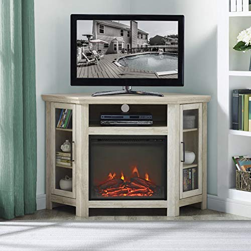 Corner Fireplace TV Stand, Electric Fireplace Heater Entertainment Center for TV to 50'', Contemporary Firebox Cabinet,Storage Shelves,Glass Doors, 4400 BTUs,400 Sq Ft Capacity (White ()