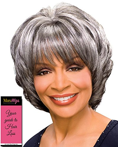 Margaret Wig Color 44 Charcoal Gray - Foxy Silver Wigs Mid Length Shag Cut Synthetic Feathered Bangs African American Alluring Womens Lightweight Average Cap Bundle with MaxWigs Hairloss Booklet (Short Alluring)
