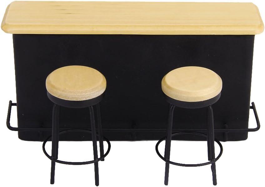Toygogo Miniatur Bar Schrank Schrank Schreibtisch Hocker Whisky Weinflasche K/üchenbedarf Im Ma/ßstab 1:12