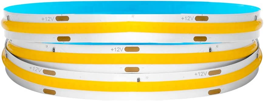 BTF-LIGHTING FOB/COB Flexible High Density LED Strip 3.2FT/1M 378LEDs Warm White 2700K 14W 12V Dimmable Deformable LED Light Ribbon for Bedroom Kitchen Home Indoor Decoration