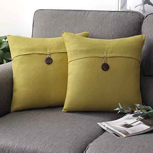 Phantoscope Set of 2 Single Button Linen Decorative Throw Pillow Case Cushion Cover Yellow 20 x 20 inches 50 x 50 cm