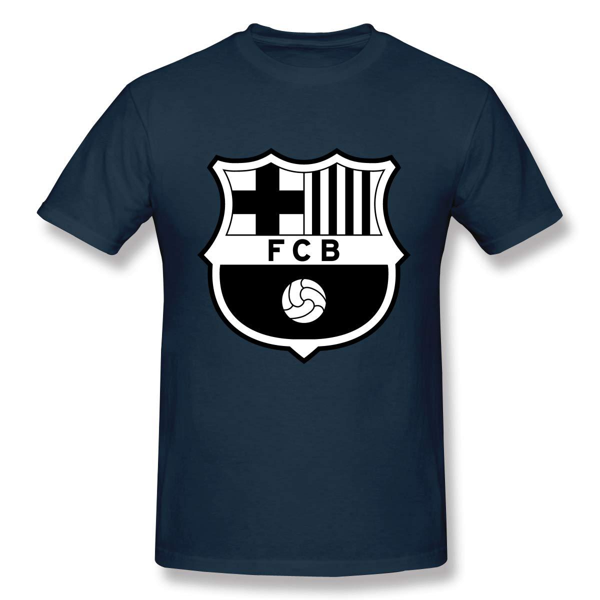 DAZHL FC Barcelona Logo Casual Men's Cotton Tee Short Sleeve T-Shirt Navy S