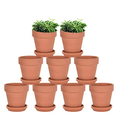 vensovo Terracotta Pots with Saucer - 9 Pack 3 Inch Clay Pot Ceramic Pottery Planter Cactus Flower Pots Succulent Pot Drainage Hole, Great for Plants, Crafts, Wedding Favor : Garden & Outdoor