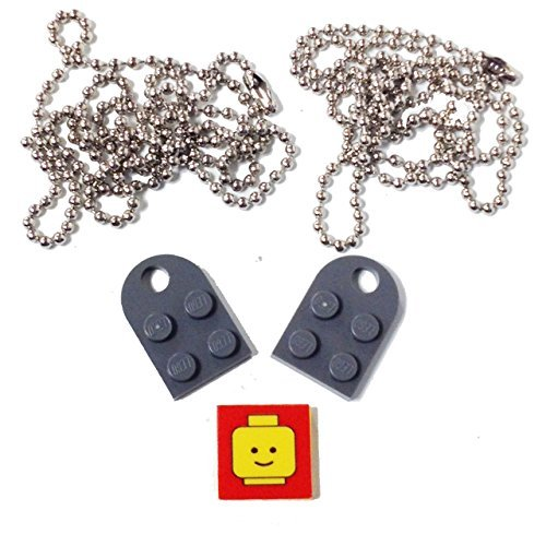 Lego Valentine Heart Necklace/Keychain Bundle Kit (2) DBGray Modified 3 x 2 Plates with Hole (1) Decorative Tile (2) 24