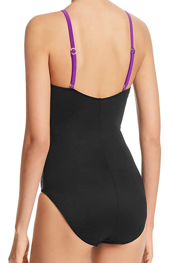 58c4a4bb607 Magicsuit by Miraclesuit Slimming One Piece Swimsuit Ruched Tummy Control High  Neck Draped Maillot Purple Black 8 at Amazon Women's Clothing store: