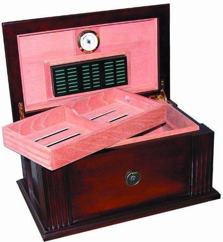 Quality Importers Amalfi 50-75 Cigar Antique Style Humidor, Walnut Finish