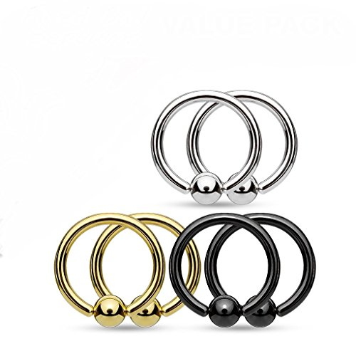 - 6 piece 316L Surgical Steel Fixed Ball Captive Bead Rings/Hoops (16GA(1.2mm) 3/8