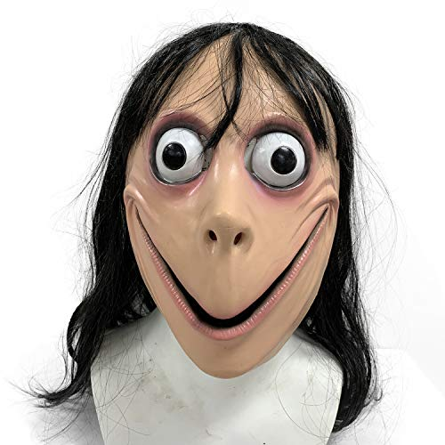 ZMJ Momo Challenge Mask Hacking Games with Long Hair Creepy Latex Halloween Cospaly Party Costume Props -