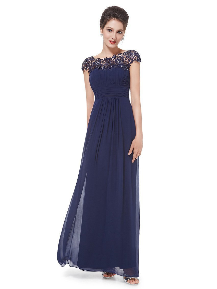 Navy bluee Women's Formal Lace Open Back Ruched Bust Evening Party Cocktail Gown Dress
