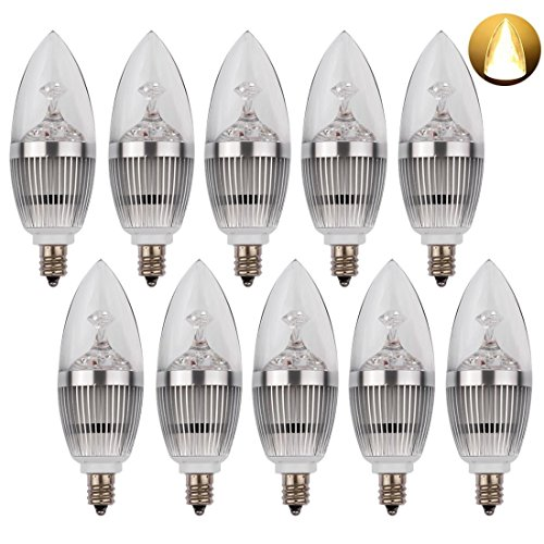 LEDMO LED Candelabra Bulb, LED Candle Bulbs, E12 3W, 25W Equivalent, Warm White 3000K, 270LM, CRI80, Non-Dimmable, 10 Pack, Silver