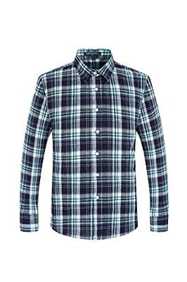 QIHUANG Mens Classical Plaid Cyan Cotton Slim Fit Long Sleeve Dress Shirt
