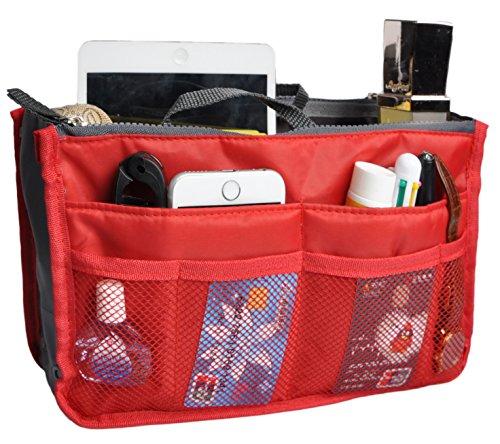 (Travel Organizer Bag Multi-pocket Insert Handbag Purse Tidy Bags For Multipurpose Red)