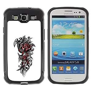 LASTONE PHONE CASE / Suave Silicona Caso Carcasa de Caucho Funda para Samsung Galaxy S3 I9300 / Tribal Rose Skull
