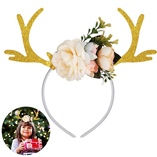 Tinksky Funny Deer Antler Headband with Flowers Blossom Novelty Party Hair Band Head Band Christmas Fancy Dress Costumes Accessory Christmas Birthday Gift for kids girls (Khaki)