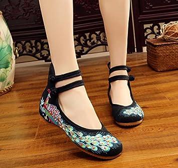 DESY Gestickte Schuhe, Sehnensohle, ethnischer Stil, weibliche Tuchschuhe, Mode, bequem, lässig innerhalb der Zunahme , beige , 38