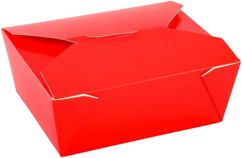 Bio Tek 98 oz Rectangle Red Paper #4 Bio Box Take Out Container - 8 1/2