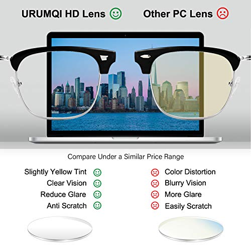 URUMQI Blue Light Blocking Glasses for Men & Women, Computer Gaming Glasses Anti Glare & Eyestrain, Non-prescription…