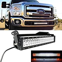 "iJDMTOY 20"" 120W White LED Light Bar w/ Amber LED Strobe & Lower Bumper Grill Mounting Bracket For 2011-2016 Ford F-250 F-350 Super Duty (Dual-Switch Wiring Harness Included)"