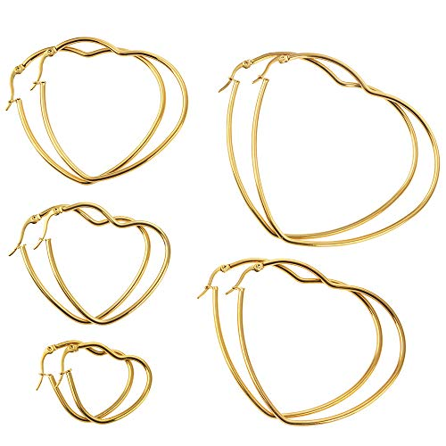 Hoop earrings Set 5 Pairs Stainless Steel heart loop black Earrings Hypoallergenic for women Colorful 14k Gold Plated Silver trendy wire earring Big High Polish piercing jewelry for girls (gold)