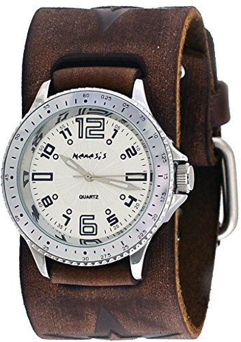 Nemesis #BBFST093S Unisex Star Icon Sport Wide Brown Leather Cuff Band Watch