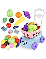 Siairo Toys Shopping Cart Kids Pretend Play Food Accessories Grocery Kitchen for Children Girls Boys 20 Pieces