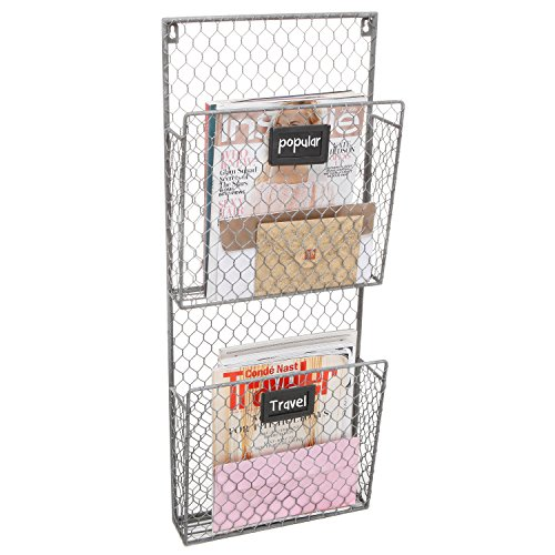 Country Rustic Gray 2 Tier Wall Storage Baskets / Magazine Rack / File Organizer w/ Chalkboard Labels