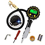 ATsafe Digital Tire Inflator Gauge-Tire Inflator&deflator Gun with Pressure Gauge and Back Bright Night LED Light,Heavy Duty Inlfating Tool with Valve Extender and Core Remover,200 PSI