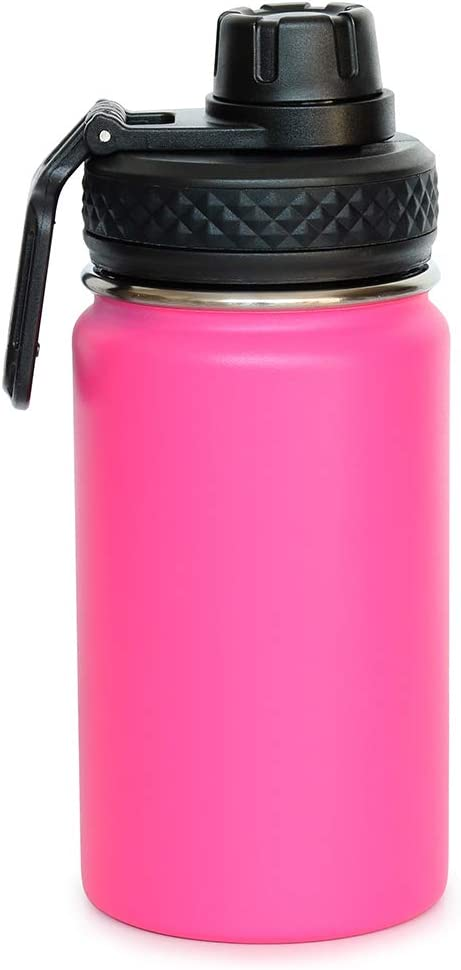 Colorful PoPo 12 oz Kids Stainless Steel Water Bottle, Double Wall Vacuum Insulated Tumbler Thermoses with Wide Mouth Leakproof Spout Lid - Rose Red