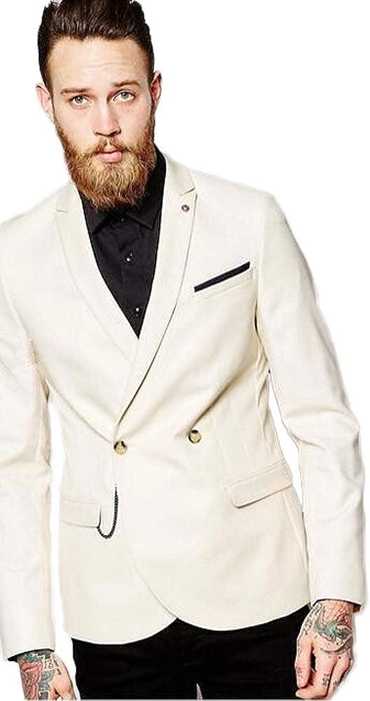 One Button Beige Mens 2 PC Wedding Suit Peak Lapel Groomsmen Tuxedo Business Suit