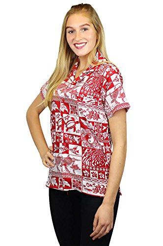 Original King Kameha | Funky Camisa Hawaiana Mujeres | XS-6XL | Manga Corta Bolsillo Delantero| impresión De Hawaii| Puzzle |diferentes colores Rojo
