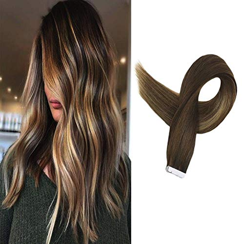 Full Shine Tape In Hair Extensions Ombre Balayage #3 Fading To #14 Highlight #6 Brown Colored Hair Extensions 50g 20pcs 14