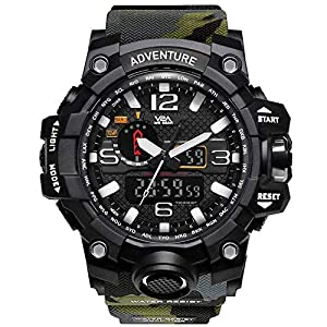 V2A Military Green Camouflage Analogue-Digital Black Dial Men's Sports Watch
