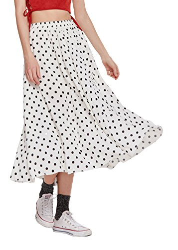 Chartou Women's Casual Contrast Polka Dot Chiffon Bohemia Swing Beach Midi A-Line Skirts (White, X-Large)