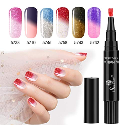 6 Colors Mood Gels, Saviland Color Changing Gel Nail Polish Pen Nail Art Manicure Kit (Pen Gel Nail)