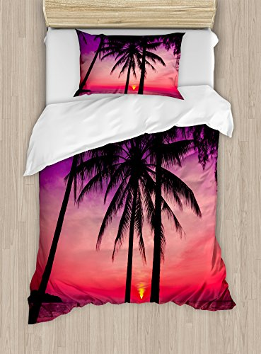 Tropical Decor Duvet Cover Set by Ambesonne, Palm Trees Silhouette on Sunset Tropical Beach Coastline Exotic Vacations, 2 Piece Bedding Set with 1 Pillow Sham, Twin / Twin XL Size