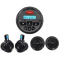 Package: MB QUART GMR-1 ATV+Marine Digital Receiver W/Bluetooth+Pair of Rockville RWB65B 6.5 Black WakeBoard Tower Speakers W/250W Each Speaker+Pair of RMC65B 6.5 600W 2-Way Marine Speakers(Black)