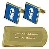 Safety Sign Hard Hat Gold-tone Cufflinks Money Clip Engraved Gift Set