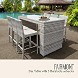 TK Classics FAIRMONT-BARTABLE-WITHBACK-6 Fairmont 7-Piece Outdoor Wicker Bar Table Set with Bar Table and 6
