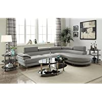 2PCS Light Grey Bonded Faux Leather Sectional Sofa Set Light Grey Color