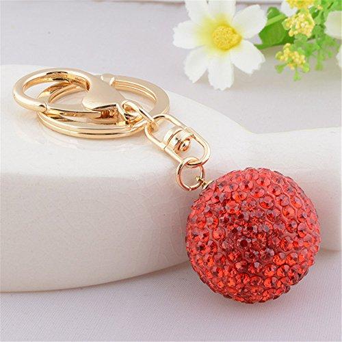 Golf Ball Key - Full Rhinestone Crystal Golf Ball Charm Pendant Purse Bag Keyring Key Chain (Red)