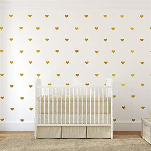 Wandaufkleber Selbstklebend Gold PREMYO 70 Herzen Wandsticker Kinderzimmer M/ädchen Jungen Wandtattoo