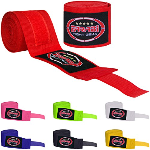 (Farabi Kids Boxing Hand Wraps 2.5 Meters Junior Hand Wraps Boxing Hand Wraps Muay Thai Hand Wraps MMA Boxing Hand Wraps Men Boxing Hand Wraps Kids Boxing Hand Wraps Inner Gloves (Red))