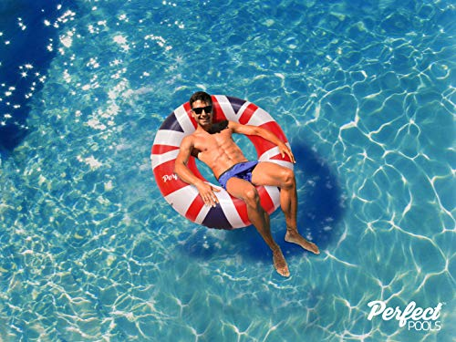(Perfect Pools Official Inflatable Giant Union Jack Flag Rubber Ring | Swimming Pool UK Flag Float 110cm)