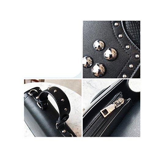 Black Cuir PU Sacs Mode Femmes Rivets à Main Couleur De Unie De LAIDAYE fdwxqp7C47